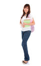 Full body asian female student portrait of smiling young adult standing isolated on white background Stock Images