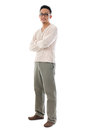 Full body asian man in casual wear front view standing isolated on white background male model Royalty Free Stock Images