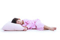 Full body. Healthy children concept. Asian girl sleeping peacefu Royalty Free Stock Photo