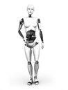 Full body image robot woman standing white background Stock Photography