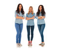 Full body picture of three confident casual women standing Royalty Free Stock Photo