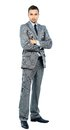 Full body portrait of happy smiling business man isolated on white background Stock Photos