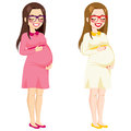 Full body pregnant woman beautiful illustration of touching her belly smiling Stock Images