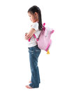 Full body side profile view asian child elementary student school bag standing isolated white background Royalty Free Stock Photo