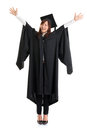 Full body university student excited asian female in graduation gown hands raised open arms jumping isolated on white background Royalty Free Stock Images