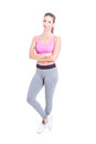 Full body of woman fitness or aerobic  instructor Royalty Free Stock Photo