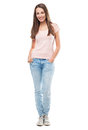 Full body of an young woman over white background Royalty Free Stock Photography