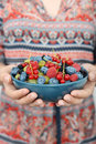Full bowl of  summer berries Royalty Free Stock Photo