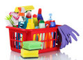 Full box of cleaning supplies Stock Photography