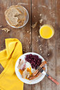 Full Breakfast on Rustic Table Royalty Free Stock Photography