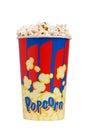 Full bucket of popcorn. Isolated on white. Royalty Free Stock Photo