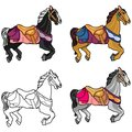 Set of four cute multi-colored horses on a white background Royalty Free Stock Photo