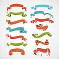 Full color set of vintage ribbons vector illustration Stock Photo