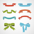Full color set of vintage ribbons vector illustration Stock Photos