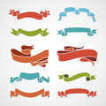 Full color set of vintage ribbons vector illustration eps Stock Photos