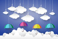 Full color Umbrella with Cloud in Blue sky  Paper art Style.vect Royalty Free Stock Photo