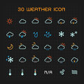 Full color weather icon set vector illustration Stock Images