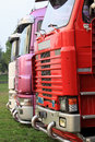 Full coloured trucks parked Stock Photo