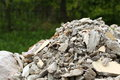 Full construction waste debris rubble bags garbage bricks pile of and material from demolished house Royalty Free Stock Photo