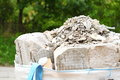Full construction waste debris rubble bags garbage bricks pile of and material from demolished house Stock Photo