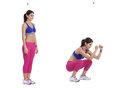 Full depth squat step by step instructions stand with your legs just over shoulder width apart toes pointing slighting outwards a Royalty Free Stock Images