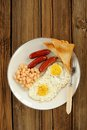 Full english breakfast with eggs, sausages, beans, toasts