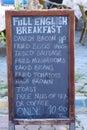 Full English Breakfast Menu Board Royalty Free Stock Photo