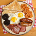 Full english cooked breakfast from above traditional overhead Royalty Free Stock Photography