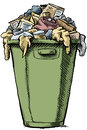 Full garbage a cartoon bin and overflowing with Stock Photography