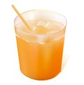 Full glass orange juice straw Royalty Free Stock Image