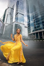 Full growth portrait of fashionable woman on urban background Royalty Free Stock Photo