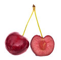 Full and half cherry on white Stock Photo