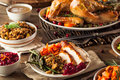 Full homemade thanksgiving dinner with turkey stuffing veggies and potatos Royalty Free Stock Photos