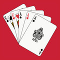 Full house aces kings on red Royalty Free Stock Photo