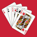 Full house kings aces on red Royalty Free Stock Photo