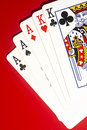 Full House Poker Playing Cards Royalty Free Stock Photo