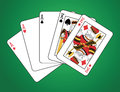Full house of three aces and two kings Royalty Free Stock Photos
