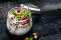 Full Jar Of Muesli, Yogurt, Ra...