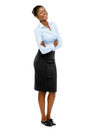 Full length african american attractive young businesswoman whit Stock Images