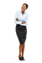 Full length african american attractive young businesswoman whit Royalty Free Stock Photos