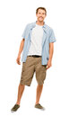 Full length attractive young man in casual clothing white backgr smiling Royalty Free Stock Images