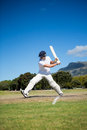 Full length of batsman playing at field against sky Royalty Free Stock Photo