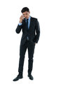 Full length of businessman talking on smartphone Royalty Free Stock Photo
