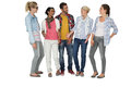 Full length of casually dressed young people over white background Stock Image
