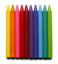 Full length crayons without paper covering isolated on white background Stock Photo