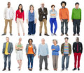 Full Length of Diverse Multiethnic People in a Row Royalty Free Stock Photo