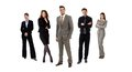 Full length formal team portrait businesspeople standing line looking camera smiling isolated white Royalty Free Stock Image