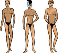 Full length front view of a standing naked man created in adobe illustrator eps Royalty Free Stock Photos