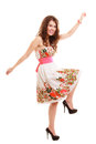 Full length funny woman girl in summer floral dress isolated. Fashion. Royalty Free Stock Photo