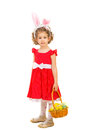 Full length of girl with bunny ears lovely and easter basket isolated on white background Royalty Free Stock Photography